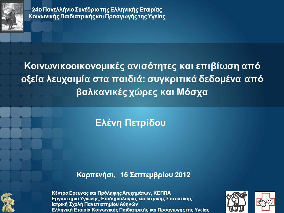 Κέντρο Ερευνας και Πρόληψης Ατυχημάτων, ΚΕΠΠΑ Εργαστήριο Υγιεινής, Επιδημιολογίας και Ιατρικής Στατιστικής Ιατρική Σχολή Πανεπιστημίου Αθηνών Αυξητικές τάσεις στην επίπτωση της παιδικής λευχαιμίας AIR for leukemia - Annual increase (%, 95%CIs) in each Register +3.5(+1.6, +5.5) +1.7 (+0.4,+ 3.0) 2000-2010 1996-2007 1996-2009 1998-2008 1996-2010 +0.9(-8.7, +11.5) +2.7(-0.1, +5.6) +2.7(-0.3, +5.9)