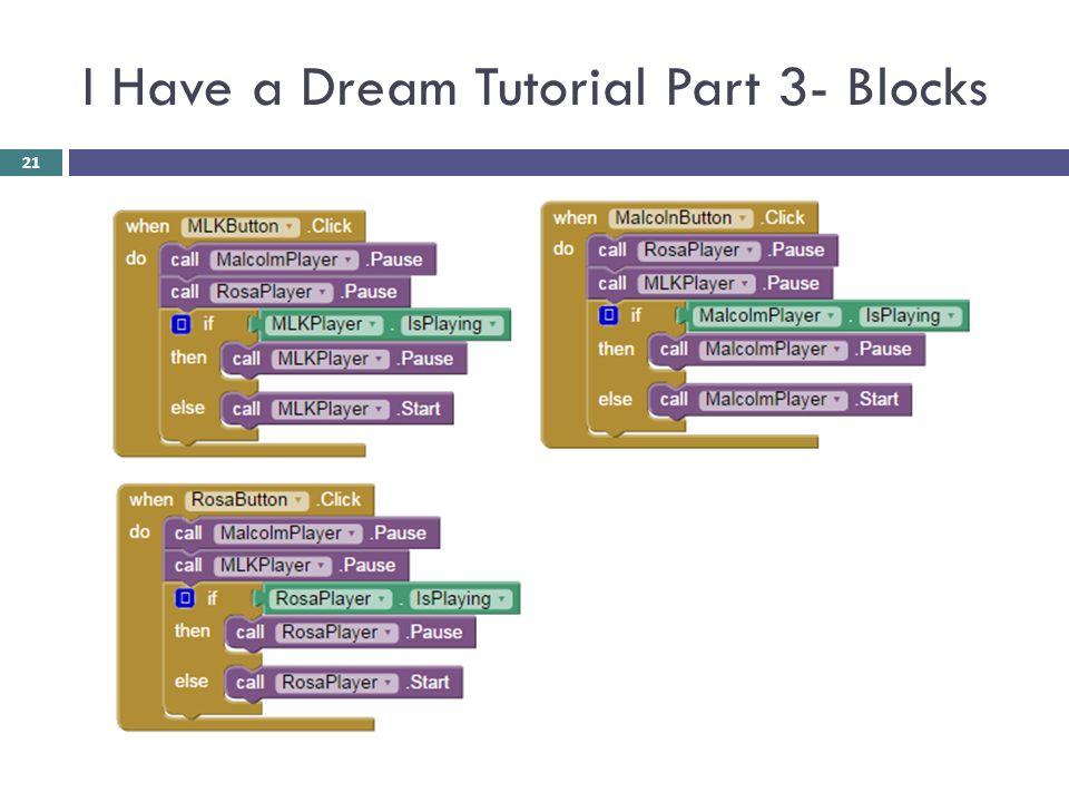 I Have a Dream Tutorial Part 3- Blocks 21