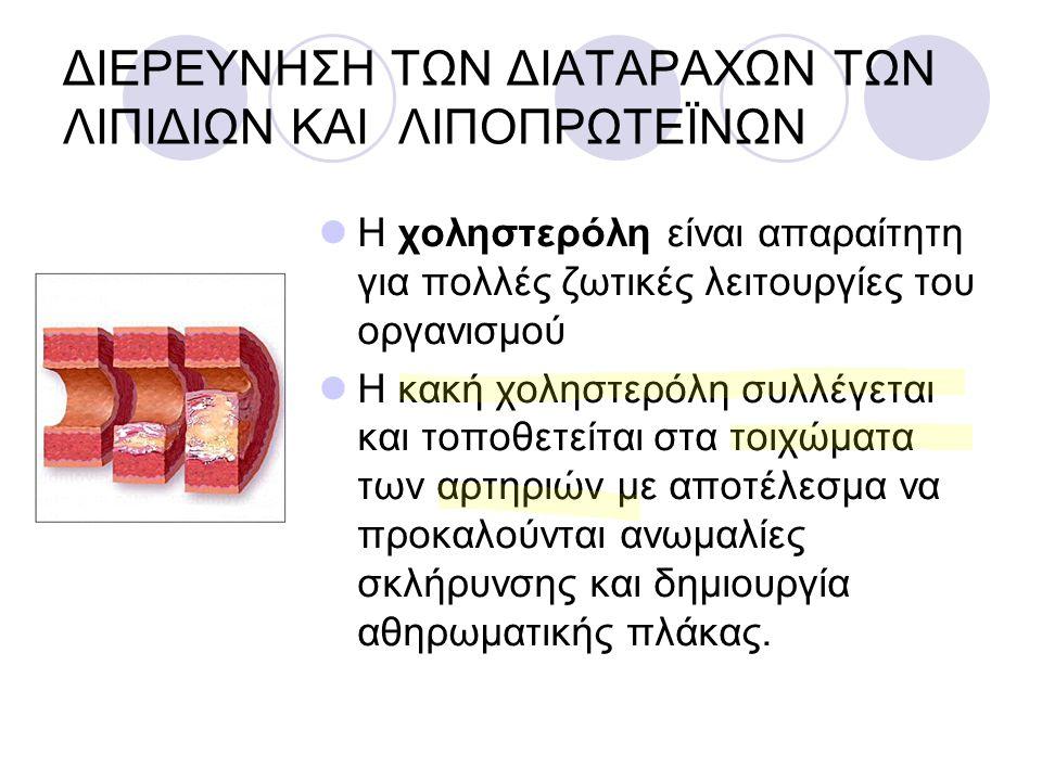ΔΙΕΡΕΥΝΗΣΗ ΤΩΝ ΔΙΑΤΑΡΑΧΩΝ ΤΩΝ ΛΙΠΙΔΙΩΝ ΚΑΙ ΛΙΠΟΠΡΩΤΕΪΝΩΝ Η χοληστερόλη είναι απαραίτητη για πολλές ζωτικές λειτουργίες του οργανισμού Η κακή χοληστερό