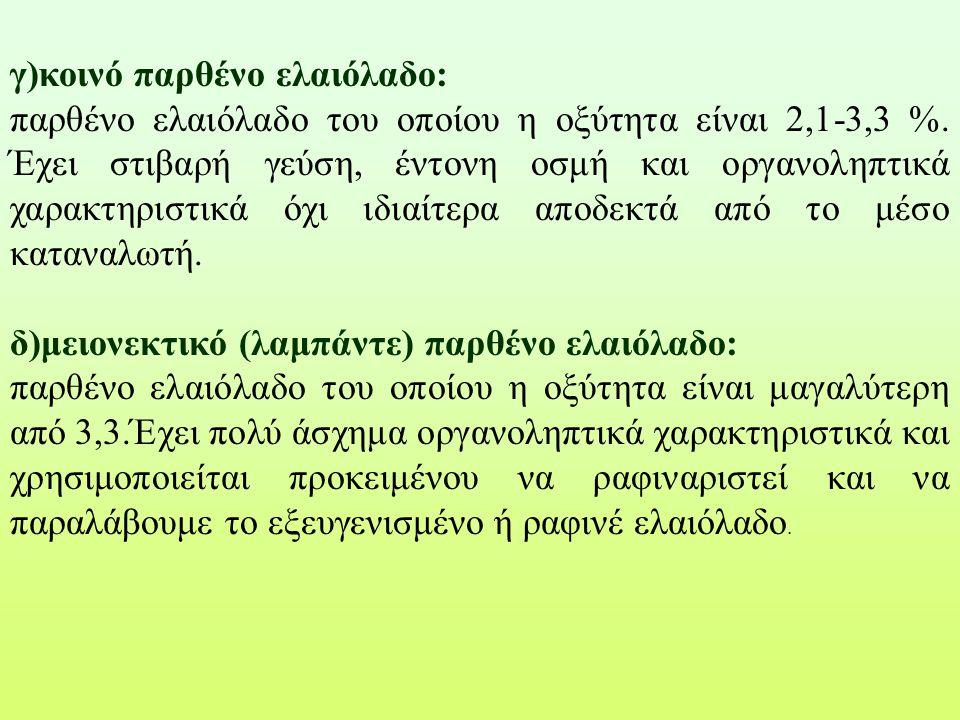 γ)κοινό παρθένο ελαιόλαδο: παρθένο ελαιόλαδο του οποίου η οξύτητα είναι 2,1-3,3 %. Έχει στιβαρή γεύση, έντονη οσμή και οργανοληπτικά χαρακτηριστικά όχ