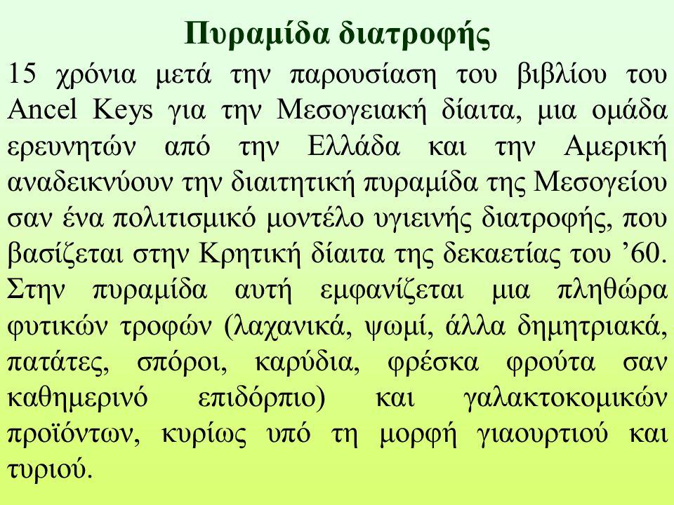 Πυραμίδα διατροφής 15 χρόνια μετά την παρουσίαση του βιβλίου του Ancel Keys για την Μεσογειακή δίαιτα, μια ομάδα ερευνητών από την Ελλάδα και την Αμερ