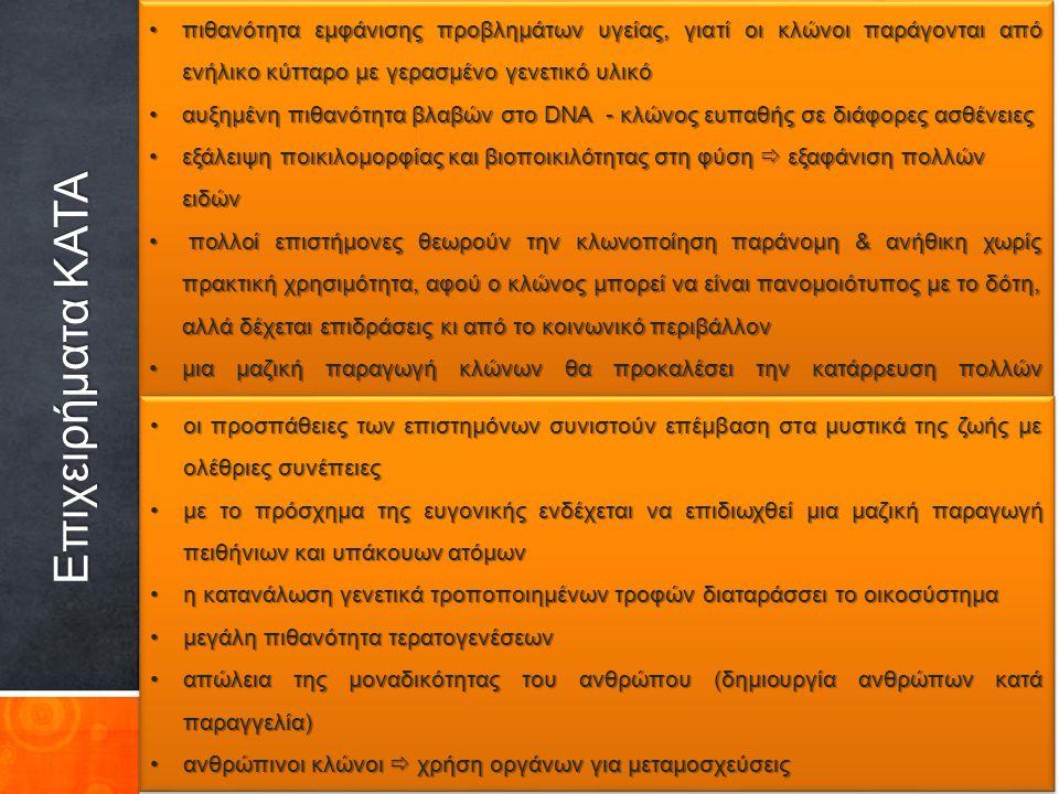 διαμόρφωση Δικαίου Μοριακής Βιολογίας (κανόνες βιοηθικής)διαμόρφωση Δικαίου Μοριακής Βιολογίας (κανόνες βιοηθικής) ενημέρωση κοινής γνώμηςενημέρωση κοινής γνώμης Πολιτεία  θεσμοθέτηση κανόνων, αρχών & νόμων για χρησιμοποίηση εργαστηριακών επιτευγμάτωνΠολιτεία  θεσμοθέτηση κανόνων, αρχών & νόμων για χρησιμοποίηση εργαστηριακών επιτευγμάτων Οι επιστήμονες:Οι επιστήμονες:  επίγνωση της κοινωνικής διάστασης του έργου τους  ΌΧΙ τεχνοκρατική αντίληψη («επιστήμη για την επιστήμη»)  ΟΧΙ ιδιοτελή κίνητρα  να μην υποκύπτουν στις πιέσεις & σκοπιμότητες ισχυρών οικονομικών παραγόντων ή της εξουσίας  ανάδειξη σε πνευματικούς & κοινωνικούς ταγούς Προϋποθέσεις για αποφυγή αρνητικών κλωνοποίησης Γιάννης Παπαδόπουλος Φιλόλογος