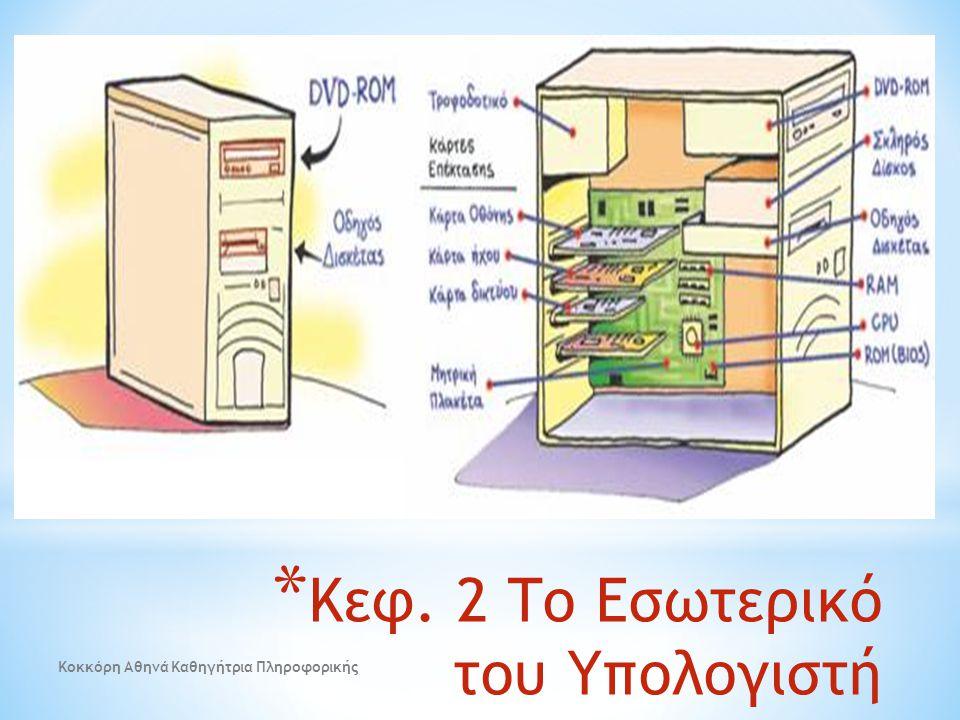 * Κεφ. 2 Το Εσωτερικό του Υπολογιστή Κοκκόρη Αθηνά Καθηγήτρια Πληροφορικής