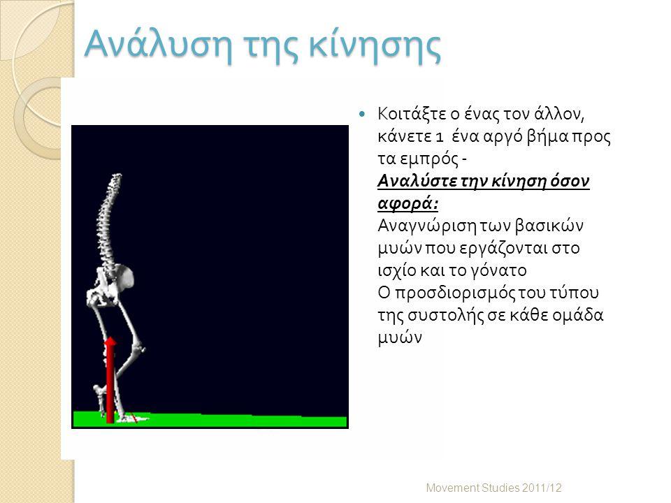 Ανάλυση της κίνησης Movement Studies 2011/12 Κοιτάξτε ο ένας τον άλλον, κάνετε 1 ένα αργό βήμα προς τα εμπρός - Αναλύστε την κίνηση όσον αφορά : Αναγνώριση των βασικών μυών που εργάζονται στο ισχίο και το γόνατο Ο προσδιορισμός του τύπου της συστολής σε κάθε ομάδα μυών