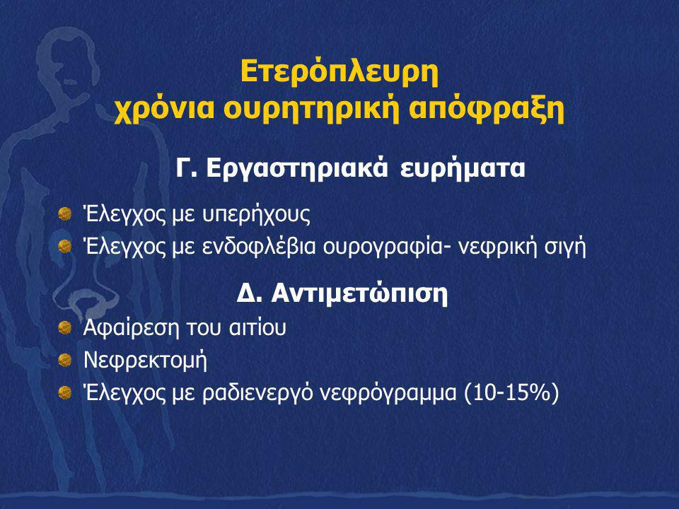 Ετερόπλευρη χρόνια ουρητηρική απόφραξη Γ. Εργαστηριακά ευρήματα Έλεγχος με υπερήχους Έλεγχος με ενδοφλέβια ουρογραφία- νεφρική σιγή Δ. Αντιμετώπιση Αφ