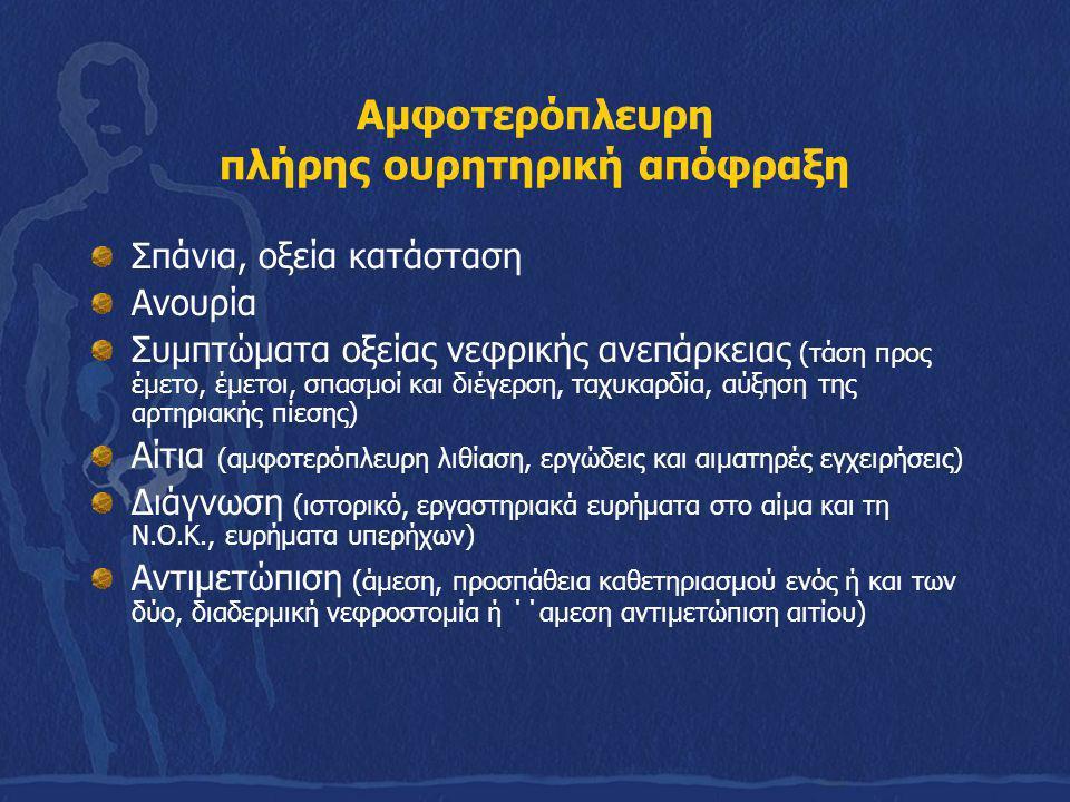 Αμφοτερόπλευρη πλήρης ουρητηρική απόφραξη Σπάνια, οξεία κατάσταση Ανουρία Συμπτώματα οξείας νεφρικής ανεπάρκειας (τάση προς έμετο, έμετοι, σπασμοί και