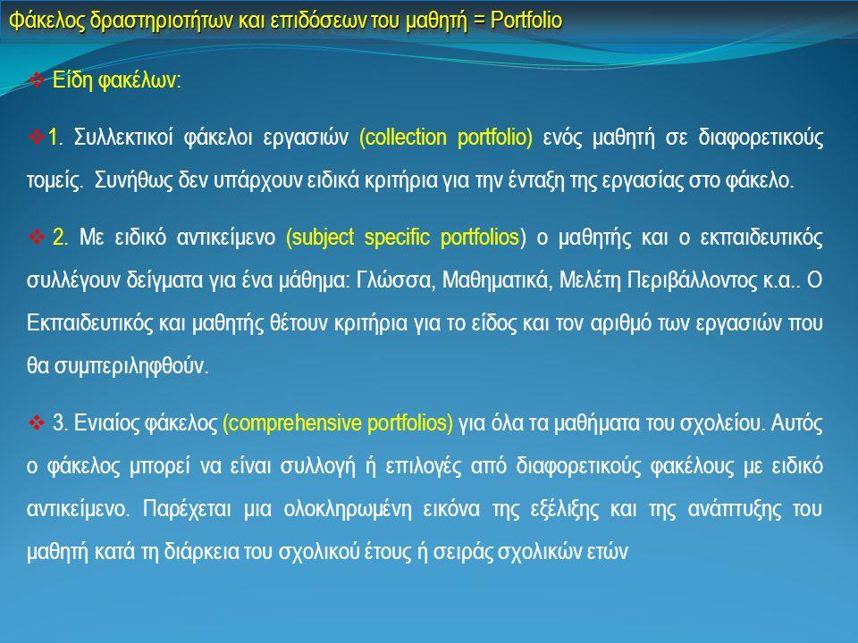  Είδη φακέλων:  1. Συλλεκτικοί φάκελοι εργασιών (collection portfolio) ενός μαθητή σε διαφορετικούς τομείς. Συνήθως δεν υπάρχουν ειδικά κριτήρια για