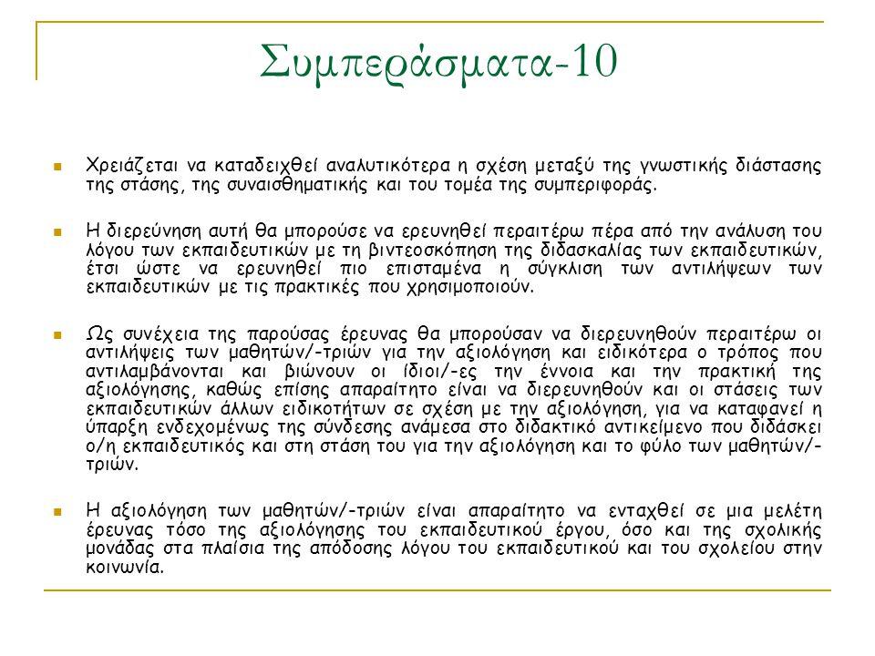 Συμπεράσματα-10 Χρειάζεται να καταδειχθεί αναλυτικότερα η σχέση μεταξύ της γνωστικής διάστασης της στάσης, της συναισθηματικής και του τομέα της συμπε