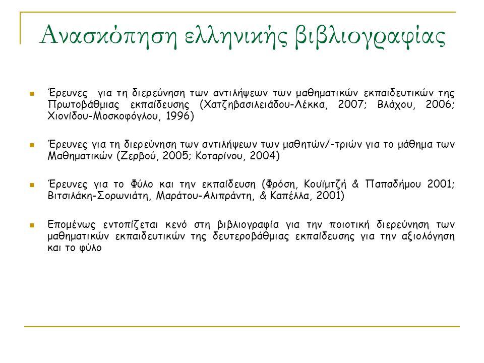 Ανασκόπηση ελληνικής βιβλιογραφίας Έρευνες για τη διερεύνηση των αντιλήψεων των μαθηματικών εκπαιδευτικών της Πρωτοβάθμιας εκπαίδευσης (Χατζηβασιλειάδ