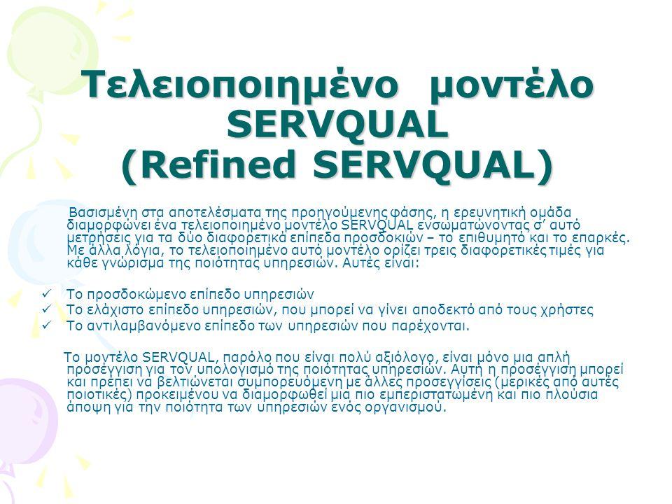 Τελειοποιημένο μοντέλο SERVQUAL (Refined SERVQUAL) Βασισμένη στα αποτελέσματα της προηγούμενης φάσης, η ερευνητική ομάδα διαμορφώνει ένα τελειοποιημέν