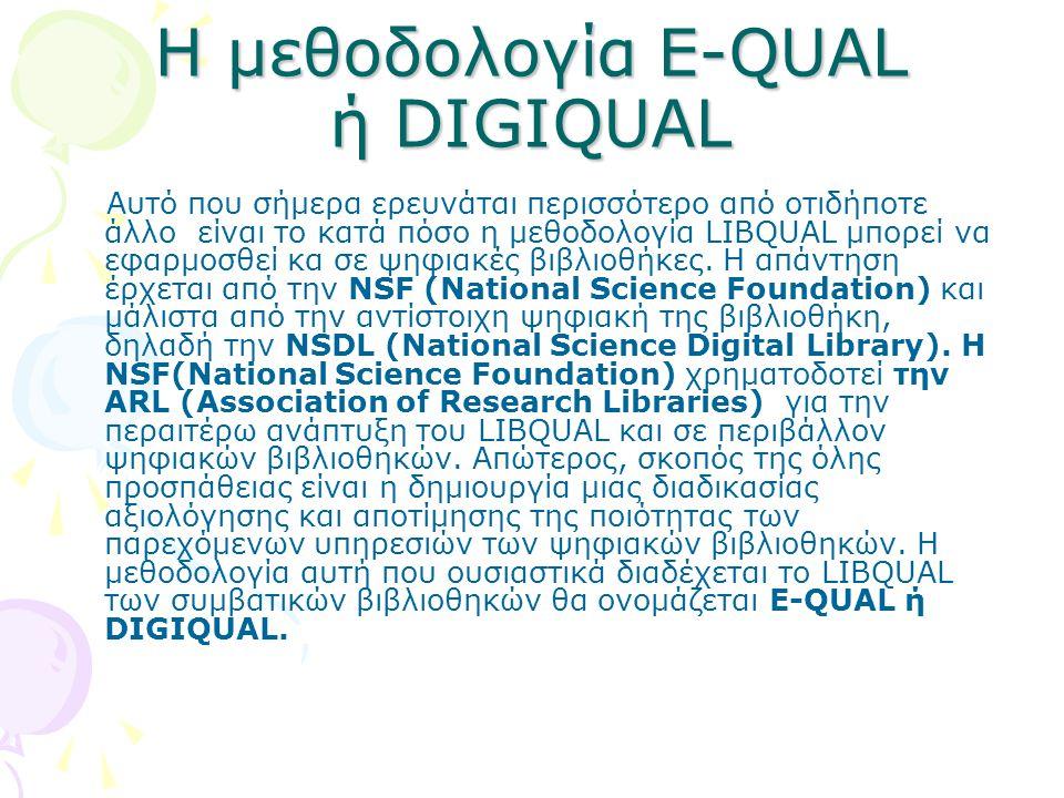 Η μεθοδολογία E-QUAL ή DIGIQUAL Αυτό που σήμερα ερευνάται περισσότερο από οτιδήποτε άλλο είναι το κατά πόσο η μεθοδολογία LIBQUAL μπορεί να εφαρμοσθεί