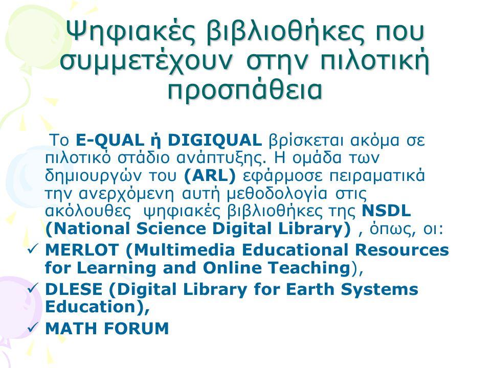 Ψηφιακές βιβλιοθήκες που συμμετέχουν στην πιλοτική προσπάθεια Το E-QUAL ή DIGIQUAL βρίσκεται ακόμα σε πιλοτικό στάδιο ανάπτυξης. Η ομάδα των δημιουργώ