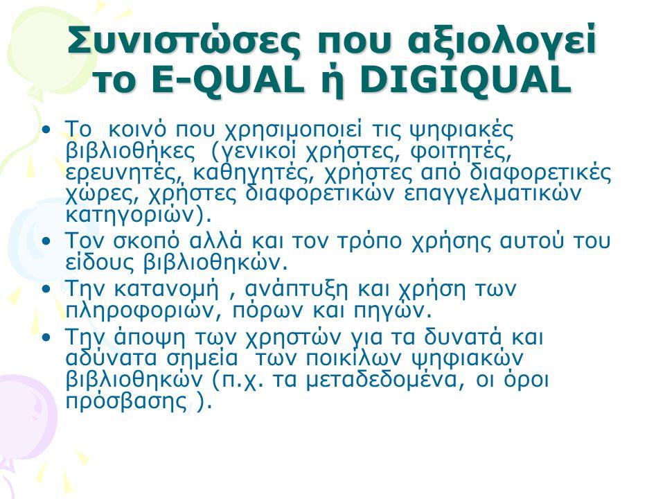 Συνιστώσες που αξιολογεί το E-QUAL ή DIGIQUAL Το κοινό που χρησιμοποιεί τις ψηφιακές βιβλιοθήκες (γενικοί χρήστες, φοιτητές, ερευνητές, καθηγητές, χρή