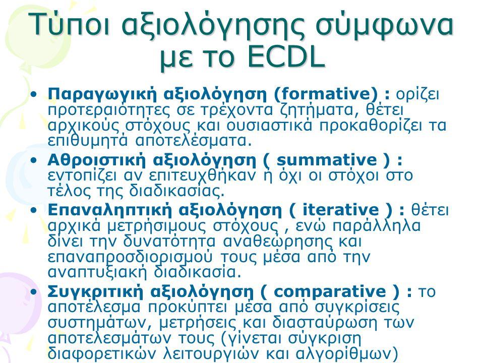 Τύποι αξιολόγησης σύμφωνα με το ECDL Παραγωγική αξιολόγηση (formative) : ορίζει προτεραιότητες σε τρέχοντα ζητήματα, θέτει αρχικούς στόχους και ουσιασ