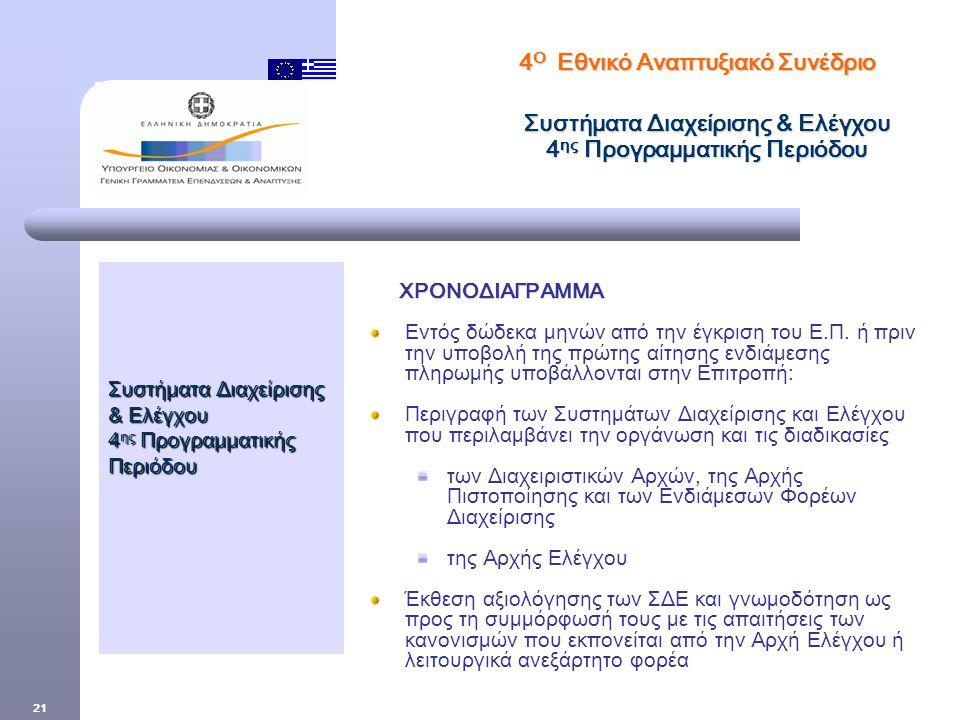 21 Συστήματα Διαχείρισης & Ελέγχου 4 ης Προγραμματικής Περιόδου ΧΡΟΝΟΔΙΑΓΡΑΜΜΑ ΧΡΟΝΟΔΙΑΓΡΑΜΜΑ Εντός δώδεκα μηνών από την έγκριση του Ε.Π.