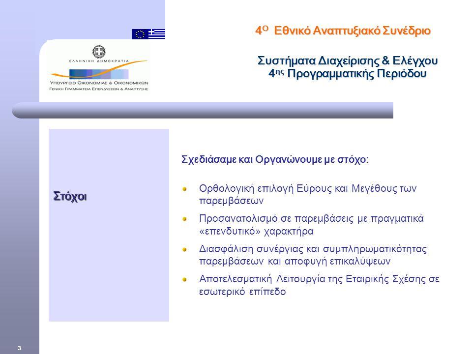 3 Στόχοι Σχεδιάσαμε και Οργανώνουμε με στόχο: Ορθολογική επιλογή Εύρους και Μεγέθους των παρεμβάσεων Προσανατολισμό σε παρεμβάσεις με πραγματικά «επενδυτικό» χαρακτήρα Διασφάλιση συνέργιας και συμπληρωματικότητας παρεμβάσεων και αποφυγή επικαλύψεων Αποτελεσματική Λειτουργία της Εταιρικής Σχέσης σε εσωτερικό επίπεδο 4 Ο Εθνικό Αναπτυξιακό Συνέδριο Συστήματα Διαχείρισης & Ελέγχου 4 ης Προγραμματικής Περιόδου