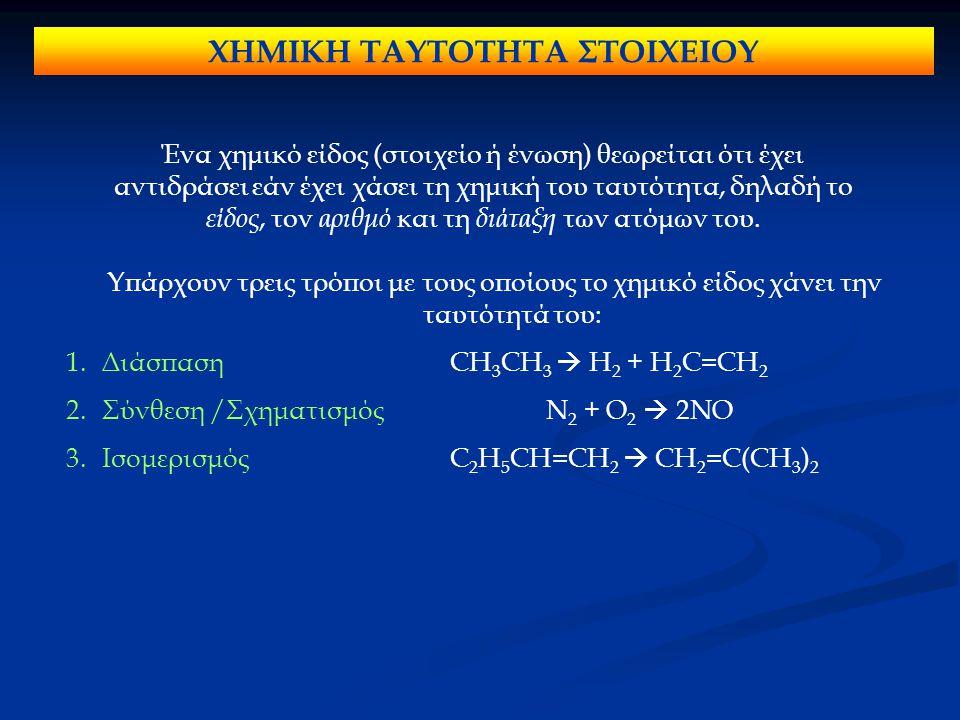 ΧΗΜΙΚΗ ΤΑΥΤΟΤΗΤΑ ΣΤΟΙΧΕΙΟΥ Ένα χημικό είδος (στοιχείο ή ένωση) θεωρείται ότι έχει αντιδράσει εάν έχει χάσει τη χημική του ταυτότητα, δηλαδή το είδος, τον αριθμό και τη διάταξη των ατόμων του.