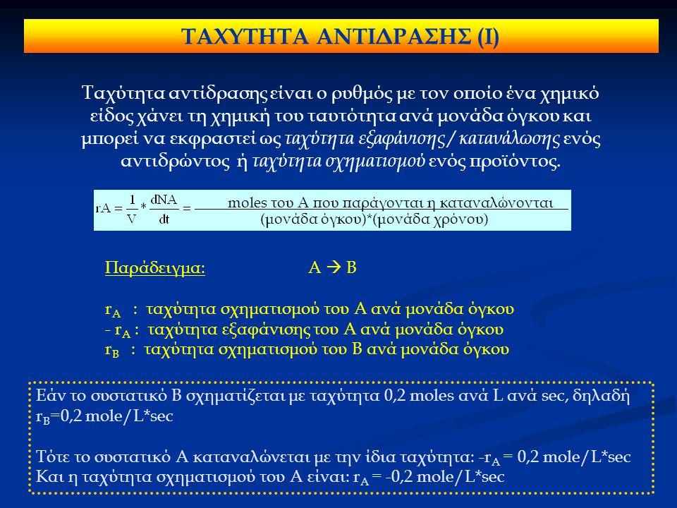 ΤΑΧΥΤΗΤΑ ΑΝΤΙΔΡΑΣΗΣ (Ι) Ταχύτητα αντίδρασης είναι ο ρυθμός με τον οποίο ένα χημικό είδος χάνει τη χημική του ταυτότητα ανά μονάδα όγκου και μπορεί να εκφραστεί ως ταχύτητα εξαφάνισης / κατανάλωσης ενός αντιδρώντος ή ταχύτητα σχηματισμού ενός προϊόντος.