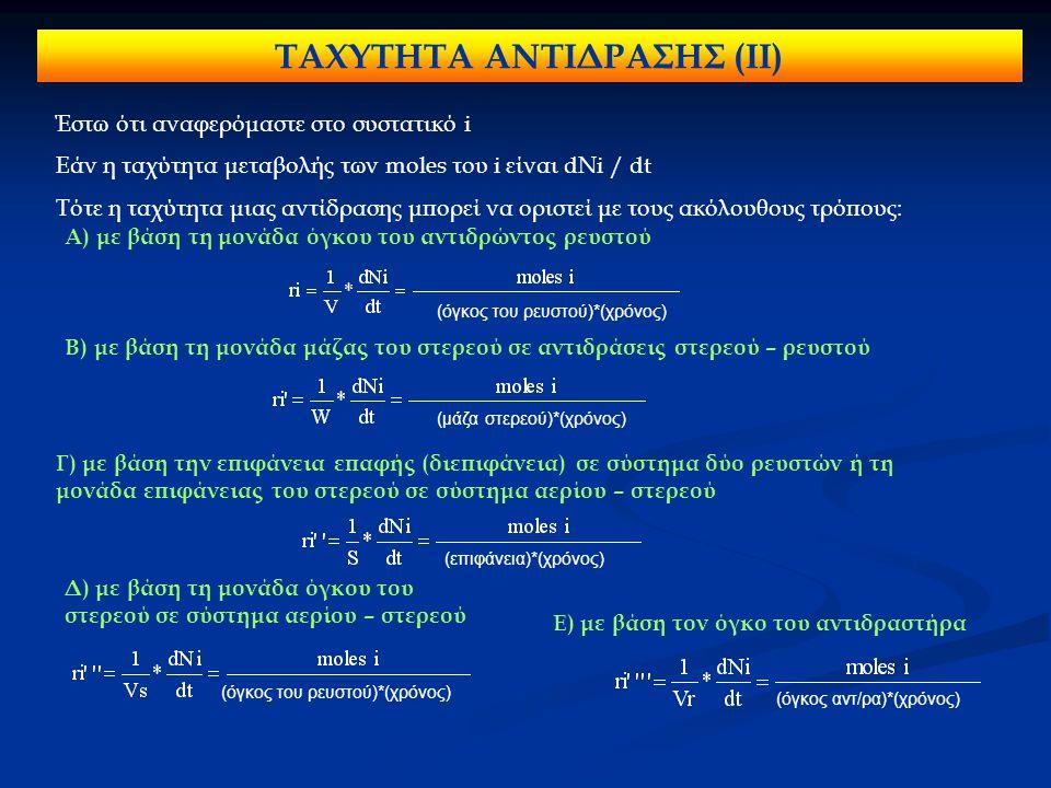 ΤΑΧΥΤΗΤΑ ΑΝΤΙΔΡΑΣΗΣ (ΙΙ) Έστω ότι αναφερόμαστε στο συστατικό i Εάν η ταχύτητα μεταβολής των moles του i είναι dNi / dt Τότε η ταχύτητα μιας αντίδρασης μπορεί να οριστεί με τους ακόλουθους τρόπους: Α) με βάση τη μονάδα όγκου του αντιδρώντος ρευστού (όγκος του ρευστού)*(χρόνος) Β) με βάση τη μονάδα μάζας του στερεού σε αντιδράσεις στερεού – ρευστού (μάζα στερεού)*(χρόνος) Γ) με βάση την επιφάνεια επαφής (διεπιφάνεια) σε σύστημα δύο ρευστών ή τη μονάδα επιφάνειας του στερεού σε σύστημα αερίου – στερεού (επιφάνεια)*(χρόνος) Δ) με βάση τη μονάδα όγκου του στερεού σε σύστημα αερίου – στερεού (όγκος του ρευστού)*(χρόνος) Ε) με βάση τον όγκο του αντιδραστήρα (όγκος αντ/ρα)*(χρόνος)