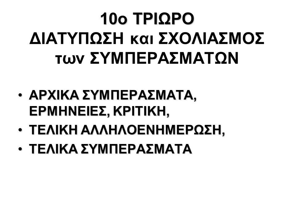 10ο ΤΡΙΩΡΟ 10ο ΤΡΙΩΡΟ ΔΙΑΤΥΠΩΣΗ και ΣΧΟΛΙΑΣΜΟΣ των ΣΥΜΠΕΡΑΣΜΑΤΩΝ AΡΧΙΚΑ ΣΥΜΠΕΡΑΣΜΑΤΑ, ΕΡΜΗΝΕΙΕΣ, ΚΡΙΤΙΚΗ,AΡΧΙΚΑ ΣΥΜΠΕΡΑΣΜΑΤΑ, ΕΡΜΗΝΕΙΕΣ, ΚΡΙΤΙΚΗ, ΤΕΛΙ