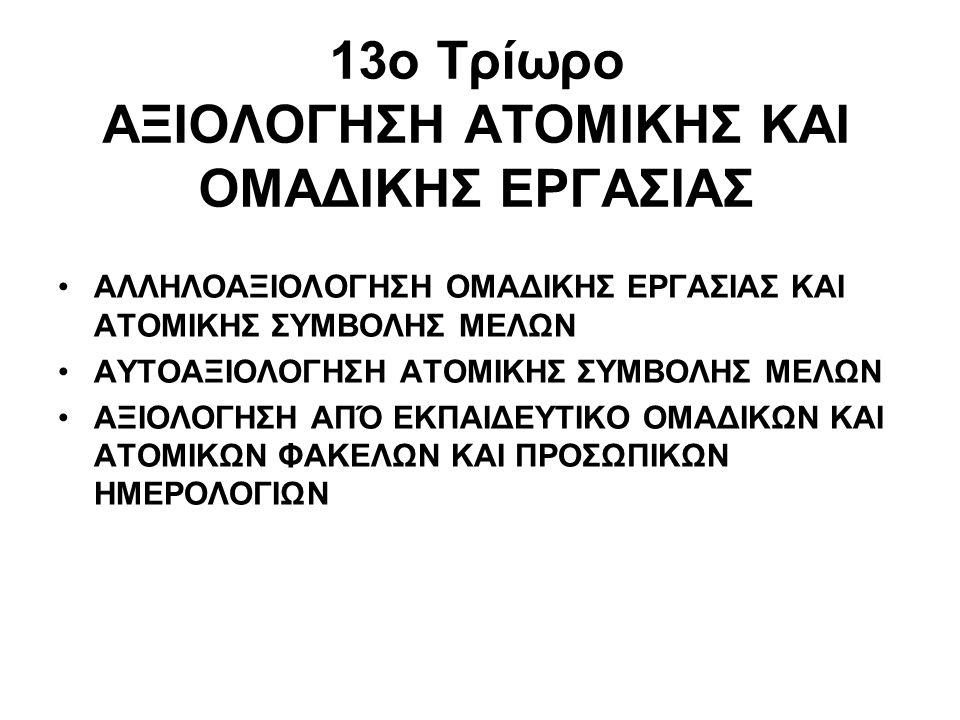 13ο Τρίωρο ΑΞΙΟΛΟΓΗΣΗ ΑΤΟΜΙΚΗΣ ΚΑΙ ΟΜΑΔΙΚΗΣ ΕΡΓΑΣΙΑΣ ΑΛΛΗΛΟΑΞΙΟΛΟΓΗΣΗ ΟΜΑΔΙΚΗΣ ΕΡΓΑΣΙΑΣ ΚΑΙ ΑΤΟΜΙΚΗΣ ΣΥΜΒΟΛΗΣ ΜΕΛΩΝ ΑΥΤΟΑΞΙΟΛΟΓΗΣΗ ΑΤΟΜΙΚΗΣ ΣΥΜΒΟΛΗΣ Μ