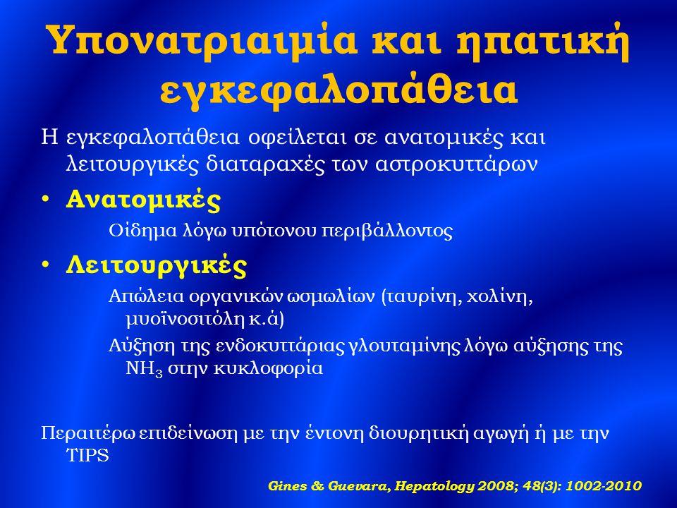 Υπονατριαιμία και ηπατική εγκεφαλοπάθεια Η εγκεφαλοπάθεια οφείλεται σε ανατομικές και λειτουργικές διαταραχές των αστροκυττάρων Ανατομικές Οίδημα λόγω υπότονου περιβάλλοντος Λειτουργικές Απώλεια οργανικών ωσμωλίων (ταυρίνη, χολίνη, μυοϊνοσιτόλη κ.ά) Αύξηση της ενδοκυττάριας γλουταμίνης λόγω αύξησης της NH 3 στην κυκλοφορία Περαιτέρω επιδείνωση με την έντονη διουρητική αγωγή ή με την TIPS Gines & Guevara, Hepatology 2008; 48(3): 1002-2010