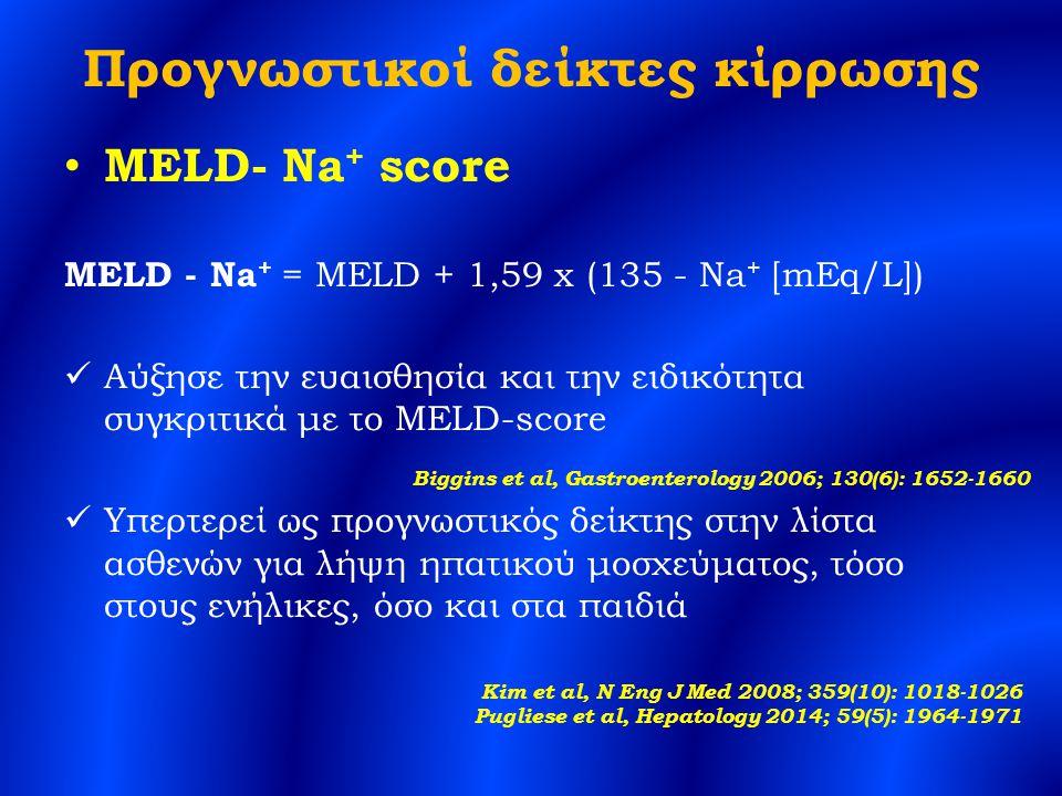 Προγνωστικοί δείκτες κίρρωσης MELD- Na + score MELD - Na + = MELD + 1,59 x (135 - Na + [mEq/L]) Αύξησε την ευαισθησία και την ειδικότητα συγκριτικά με το MELD-score Υπερτερεί ως προγνωστικός δείκτης στην λίστα ασθενών για λήψη ηπατικού μοσχεύματος, τόσο στους ενήλικες, όσο και στα παιδιά Biggins et al, Gastroenterology 2006; 130(6): 1652-1660 Kim et al, N Eng J Med 2008; 359(10): 1018-1026 Pugliese et al, Hepatology 2014; 59(5): 1964-1971