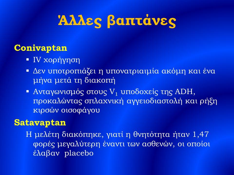 Άλλες βαπτάνες Conivaptan  IV χορήγηση  Δεν υποτροπιάζει η υπονατριαιμία ακόμη και ένα μήνα μετά τη διακοπή  Ανταγωνισμός στους V 1 υποδοχείς της ADH, προκαλώντας σπλαχνική αγγειοδιαστολή και ρήξη κιρσών οισοφάγου Satavaptan Η μελέτη διακόπηκε, γιατί η θνητότητα ήταν 1,47 φορές μεγαλύτερη έναντι των ασθενών, οι οποίοι έλαβαν placebo