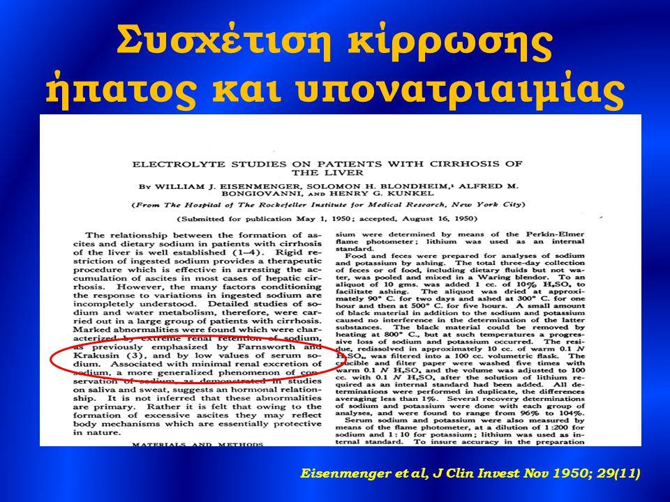 Συσχέτιση κίρρωσης ήπατος και υπονατριαιμίας Eisenmenger et al, J Clin Invest Nov 1950; 29(11)