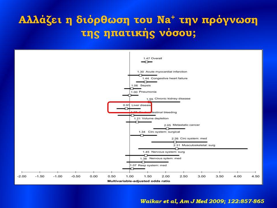 Αλλάζει η διόρθωση του Na + την πρόγνωση της ηπατικής νόσου; Waikar et al, Am J Med 2009; 122:857-865