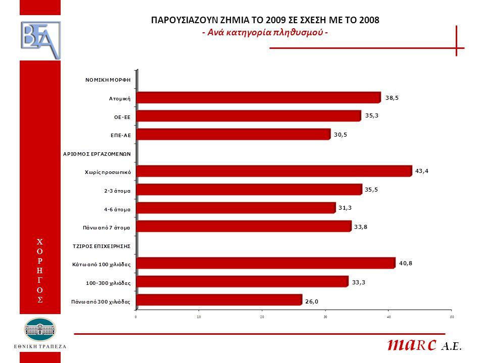 ΠΑΡΟΥΣΙΑΖΟΥΝ ΖΗΜΙΑ ΤΟ 2009 ΣΕ ΣΧΕΣΗ ΜΕ ΤΟ 2008 - Ανά κατηγορία πληθυσμού - ΧΟΡΗΓΟΣ ΧΟΡΗΓΟΣ