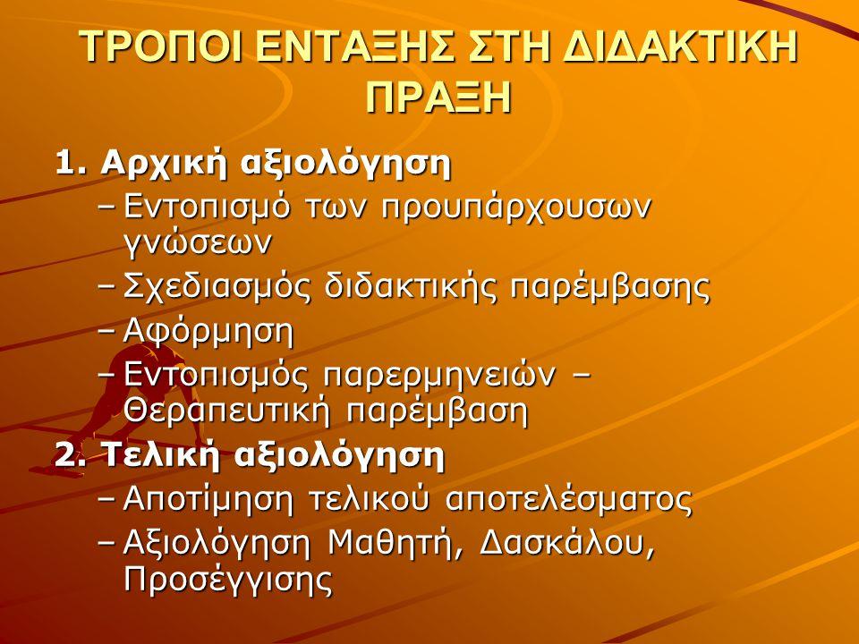 ΤΡΟΠΟΙ ΕΝΤΑΞΗΣ ΣΤΗ ΔΙΔΑΚΤΙΚΗ ΠΡΑΞΗ 1.