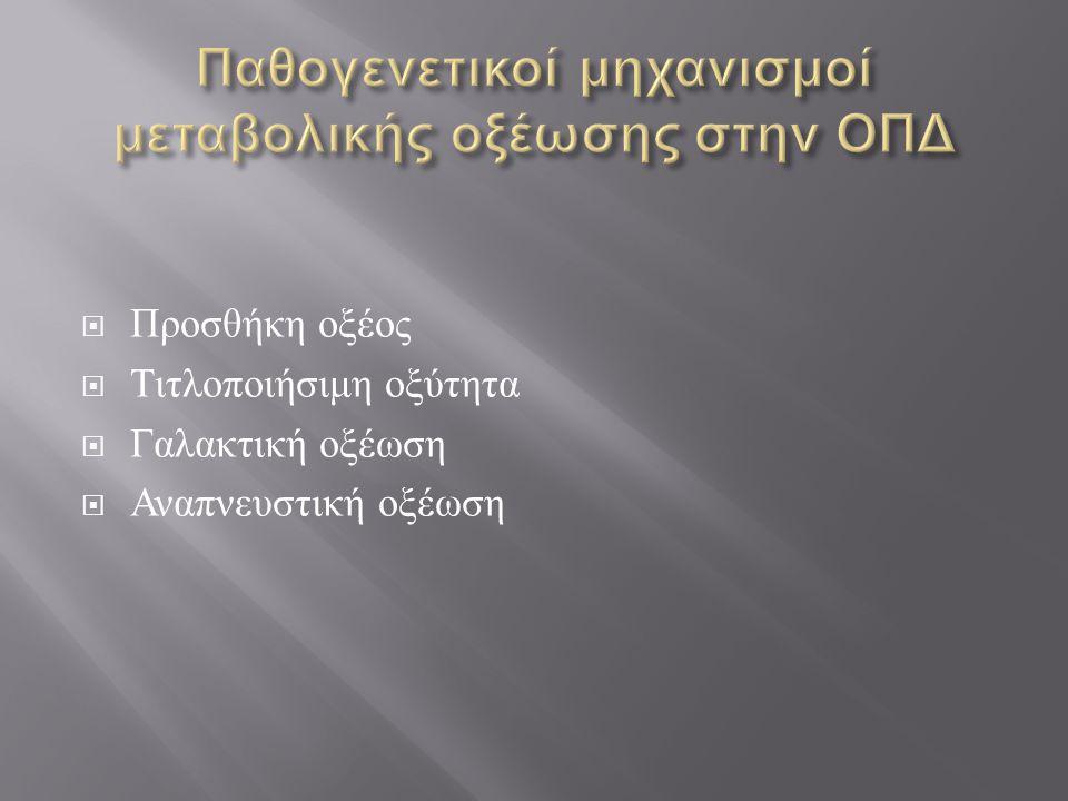  Προσθήκη οξέος  Τιτλοποιήσιμη οξύτητα  Γαλακτική οξέωση  Αναπνευστική οξέωση