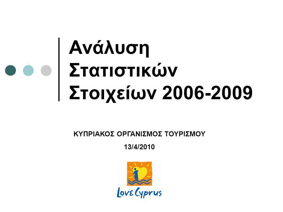 Ανάλυση Στατιστικών Στοιχείων 2006-2009 ΚΥΠΡΙΑΚΟΣ ΟΡΓΑΝΙΣΜΟΣ ΤΟΥΡΙΣΜΟΥ 13/4/2010