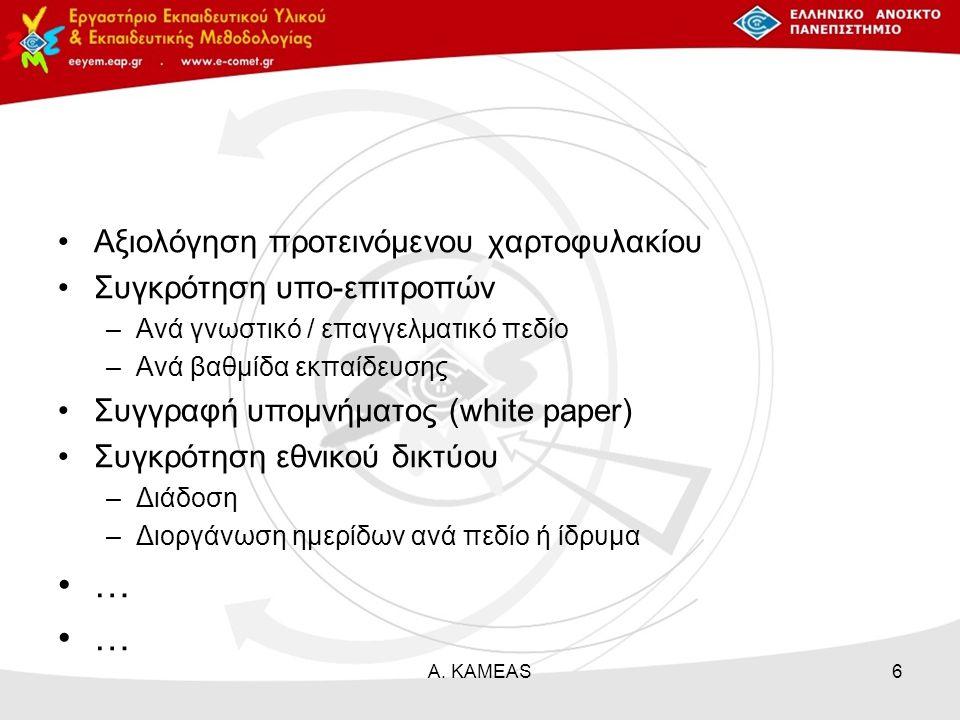 Αξιολόγηση προτεινόμενου χαρτοφυλακίου Συγκρότηση υπο-επιτροπών –Ανά γνωστικό / επαγγελματικό πεδίο –Ανά βαθμίδα εκπαίδευσης Συγγραφή υπομνήματος (white paper) Συγκρότηση εθνικού δικτύου –Διάδοση –Διοργάνωση ημερίδων ανά πεδίο ή ίδρυμα … Α.