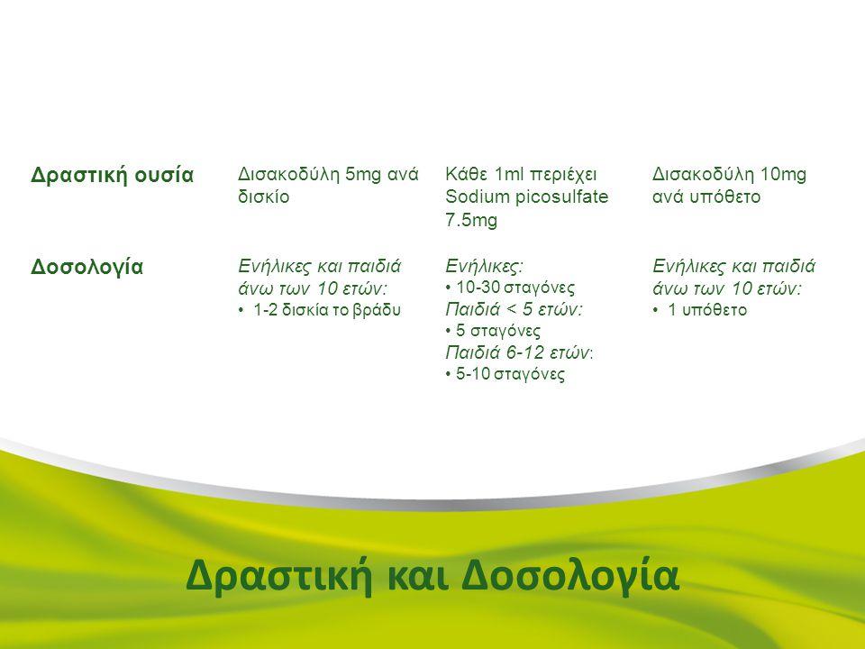 TabletsSP DropsSuppositories Δραστική ουσία Δισακοδύλη 5mg ανά δισκίο Κάθε 1ml περιέχει Sodium picosulfate 7.5mg Δισακοδύλη 10mg ανά υπόθετο Δοσολογία Ενήλικες και παιδιά άνω των 10 ετών: 1-2 δισκία το βράδυ Ενήλικες: 10-30 σταγόνες Παιδιά < 5 ετών: 5 σταγόνες Παιδιά 6-12 ετών : 5-10 σταγόνες Ενήλικες και παιδιά άνω των 10 ετών: 1 υπόθετο Δραστική και Δοσολογία