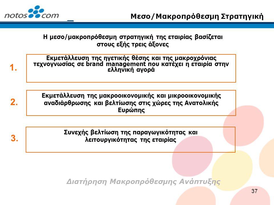 37 Μεσο/Μακροπρόθεσμη Στρατηγική Η μεσο/μακροπρόθεσμη στρατηγική της εταιρίας βασίζεται στους εξής τρεις άξονες Εκμετάλλευση της ηγετικής θέσης και τη