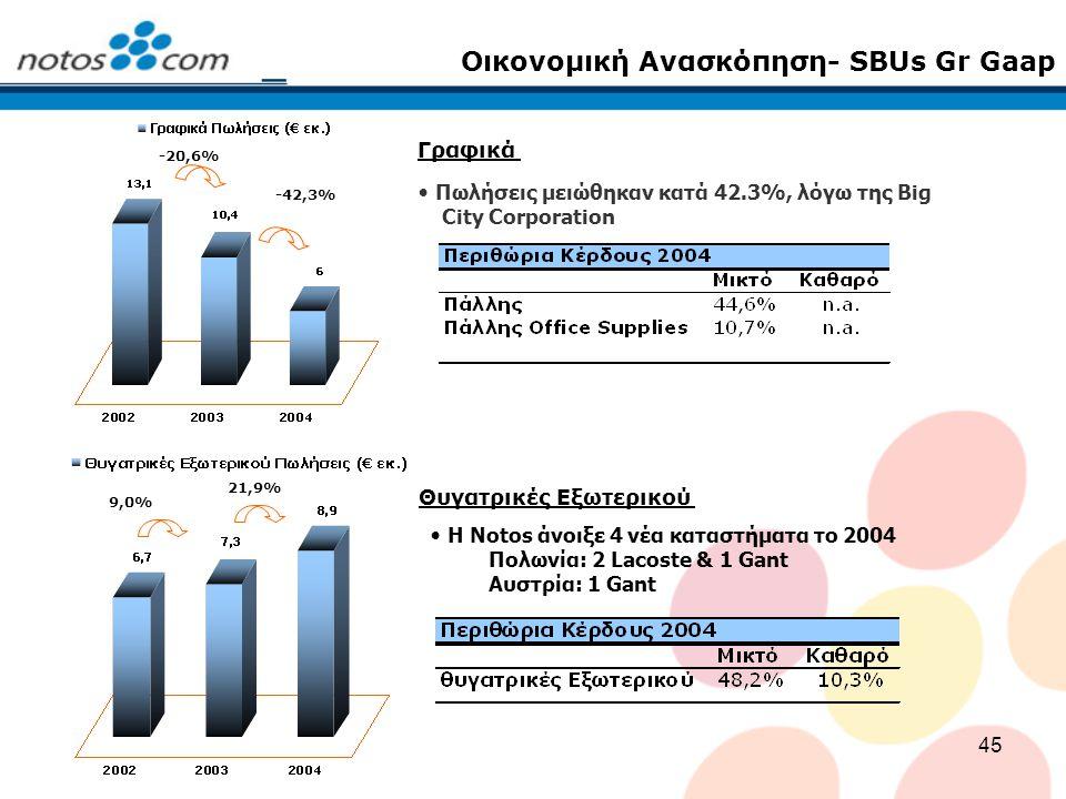 45 Οικονομική Ανασκόπηση- SBUs Gr Gaap Πωλήσεις μειώθηκαν κατά 42.3%, λόγω της Big City Corporation Η Notos άνοιξε 4 νέα καταστήματα το 2004 Πολωνία: