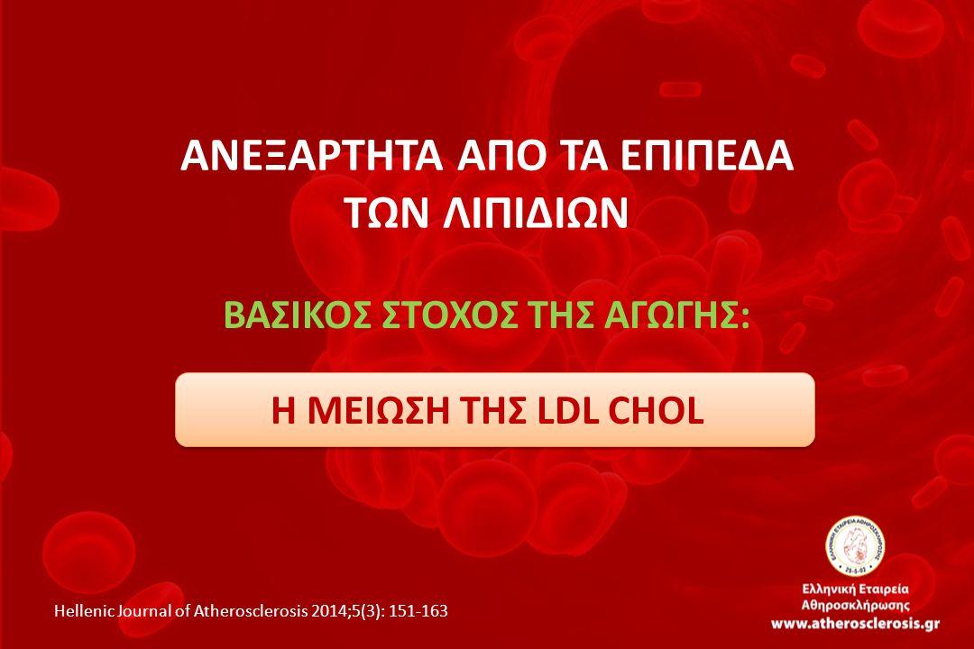 ΑΝΕΞΑΡΤΗΤΑ ΑΠΟ ΤΑ ΕΠΙΠΕΔΑ ΤΩΝ ΛΙΠΙΔΙΩΝ ΒΑΣΙΚΟΣ ΣΤΟΧΟΣ ΤΗΣ ΑΓΩΓΗΣ: Η ΜΕΙΩΣΗ ΤΗΣ LDL CHOL Hellenic Journal of Atherosclerosis 2014;5(3): 151-163
