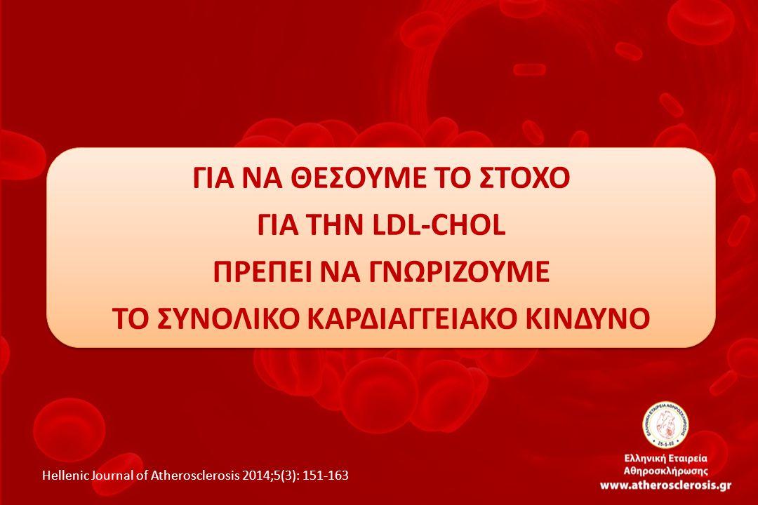 ΓΙΑ ΝΑ ΘΕΣΟΥΜΕ ΤΟ ΣΤΟΧΟ ΓΙΑ ΤΗΝ LDL-CHOL ΠΡΕΠΕΙ ΝΑ ΓΝΩΡΙΖΟΥΜΕ ΤΟ ΣΥΝΟΛΙΚΟ ΚΑΡΔΙΑΓΓΕΙΑΚΟ ΚΙΝΔΥΝΟ Hellenic Journal of Atherosclerosis 2014;5(3): 151-163