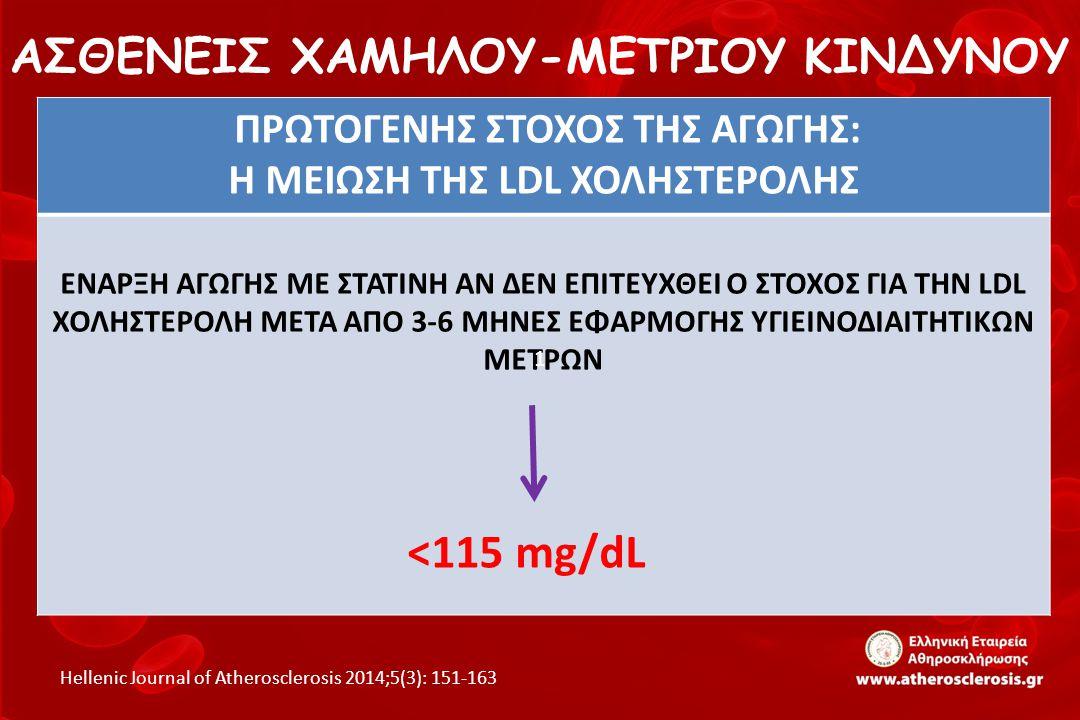 ΑΣΘΕΝΕΙΣ ΧΑΜΗΛΟΥ-ΜΕΤΡΙΟΥ ΚΙΝΔΥΝΟΥ Hellenic Journal of Atherosclerosis 2014;5(3): 151-163 ΠΡΩΤΟΓΕΝΗΣ ΣΤΟΧΟΣ ΤΗΣ ΑΓΩΓΗΣ: Η ΜΕΙΩΣΗ ΤΗΣ LDL ΧΟΛΗΣΤΕΡΟΛΗΣ Ε