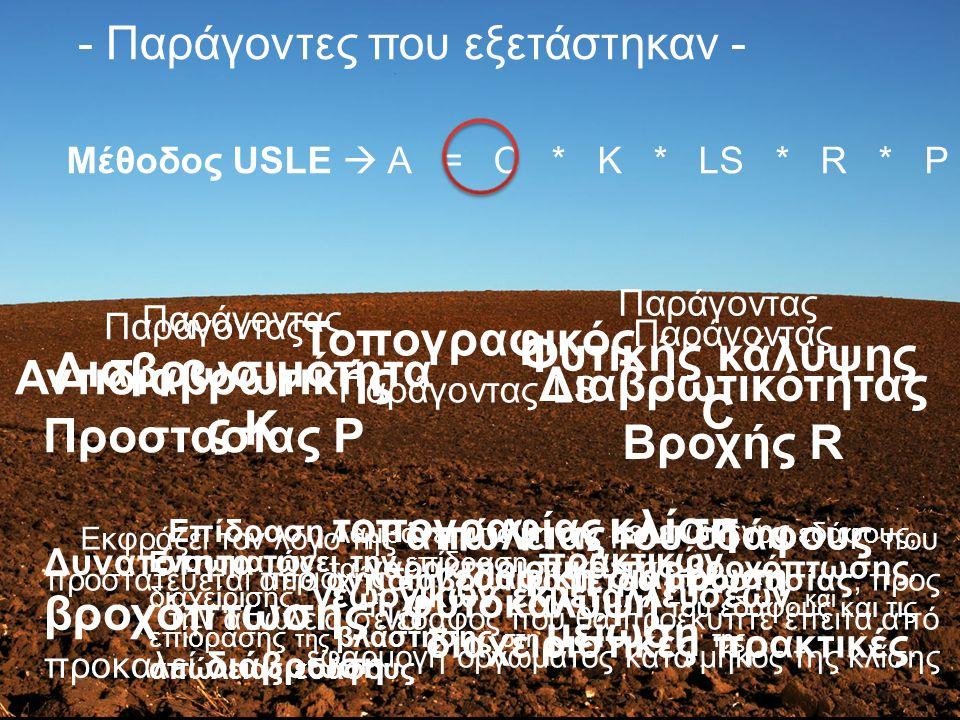 Ενσωματώνει την επίδραση πρακτικών διαχείρισης, γεωργικών εκμεταλλεύσεων και επίδρασης της βλάστησης στη μείωση της απώλειας εδάφους - Παράγοντες που εξετάστηκαν - Παράγοντας Φυτικής κάλυψης C Μέθοδος USLE  Α = C * K * LS * R * P Παράγοντας Διαβρωσιμότητα ς Κ Λαμβάνει υπόψη την κλίση του εδάφους, τα χαρακτηριστικά της βροχόπτωσης, τη φυτοκάλυψη του εδάφους και τις διαχειριστικές πρακτικές.