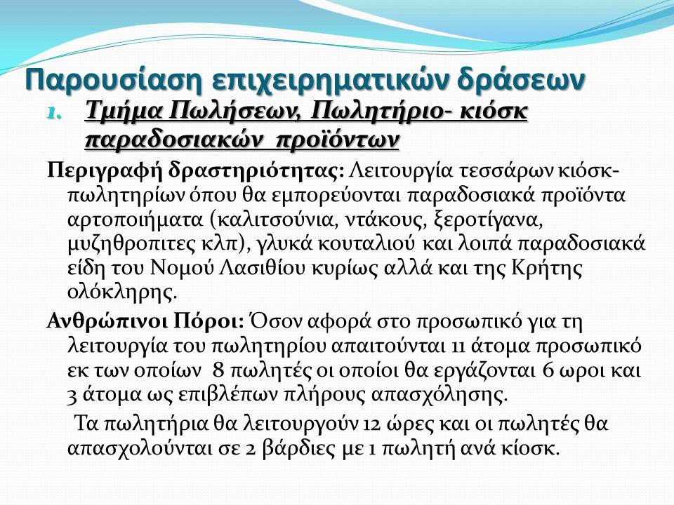 Παρουσίαση επιχειρηματικών δράσεων 1. Τμήμα Πωλήσεων, Πωλητήριο- κιόσκ παραδοσιακών προϊόντων Περιγραφή δραστηριότητας: Λειτουργία τεσσάρων κιόσκ- πωλ