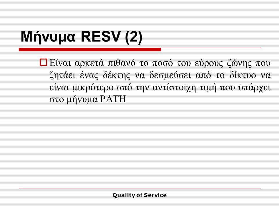 Quality of Service Μήνυμα RESV (2)  Είναι αρκετά πιθανό το ποσό του εύρους ζώνης που ζητάει ένας δέκτης να δεσμεύσει από το δίκτυο να είναι μικρότερο από την αντίστοιχη τιμή που υπάρχει στο μήνυμα PATH