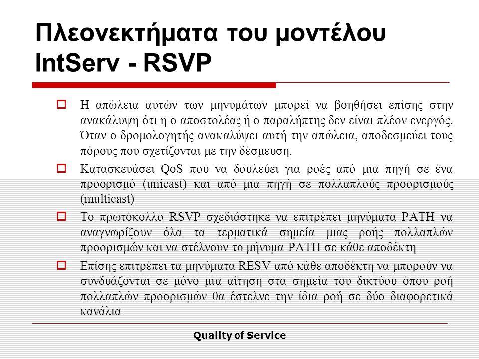 Quality of Service Πλεονεκτήματα του μοντέλου IntServ - RSVP  Η απώλεια αυτών των μηνυμάτων μπορεί να βοηθήσει επίσης στην ανακάλυψη ότι η ο αποστολέας ή ο παραλήπτης δεν είναι πλέον ενεργός.