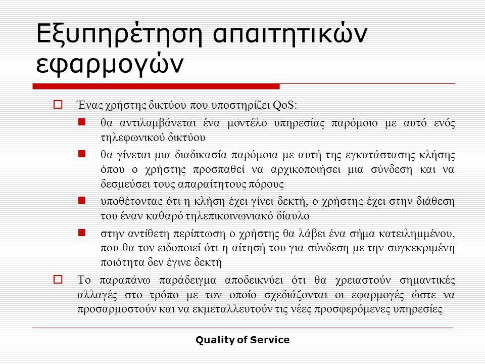 Quality of Service Εξυπηρέτηση απαιτητικών εφαρμογών  Ένας χρήστης δικτύου που υποστηρίζει QoS: θα αντιλαμβάνεται ένα μοντέλο υπηρεσίας παρόμοιο με αυτό ενός τηλεφωνικού δικτύου θα γίνεται μια διαδικασία παρόμοια με αυτή της εγκατάστασης κλήσης όπου ο χρήστης προσπαθεί να αρχικοποιήσει μια σύνδεση και να δεσμεύσει τους απαραίτητους πόρους υποθέτοντας ότι η κλήση έχει γίνει δεκτή, ο χρήστης έχει στην διάθεση του έναν καθαρό τηλεπικοινωνιακό δίαυλο στην αντίθετη περίπτωση ο χρήστης θα λάβει ένα σήμα κατειλημμένου, που θα τον ειδοποιεί ότι η αίτησή του για σύνδεση με την συγκεκριμένη ποιότητα δεν έγινε δεκτή  Το παραπάνω παράδειγμα αποδεικνύει ότι θα χρειαστούν σημαντικές αλλαγές στο τρόπο με τον οποίο σχεδιάζονται οι εφαρμογές ώστε να προσαρμοστούν και να εκμεταλλευτούν τις νέες προσφερόμενες υπηρεσίες