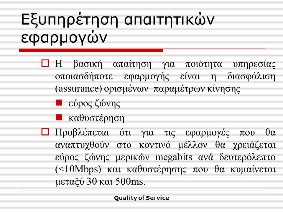 Quality of Service Εξυπηρέτηση απαιτητικών εφαρμογών  Η βασική απαίτηση για ποιότητα υπηρεσίας οποιασδήποτε εφαρμογής είναι η διασφάλιση (assurance) ορισμένων παραμέτρων κίνησης εύρος ζώνης καθυστέρηση  Προβλέπεται ότι για τις εφαρμογές που θα αναπτυχθούν στο κοντινό μέλλον θα χρειάζεται εύρος ζώνης μερικών megabits ανά δευτερόλεπτο (<10Mbps) και καθυστέρησης που θα κυμαίνεται μεταξύ 30 και 500ms.