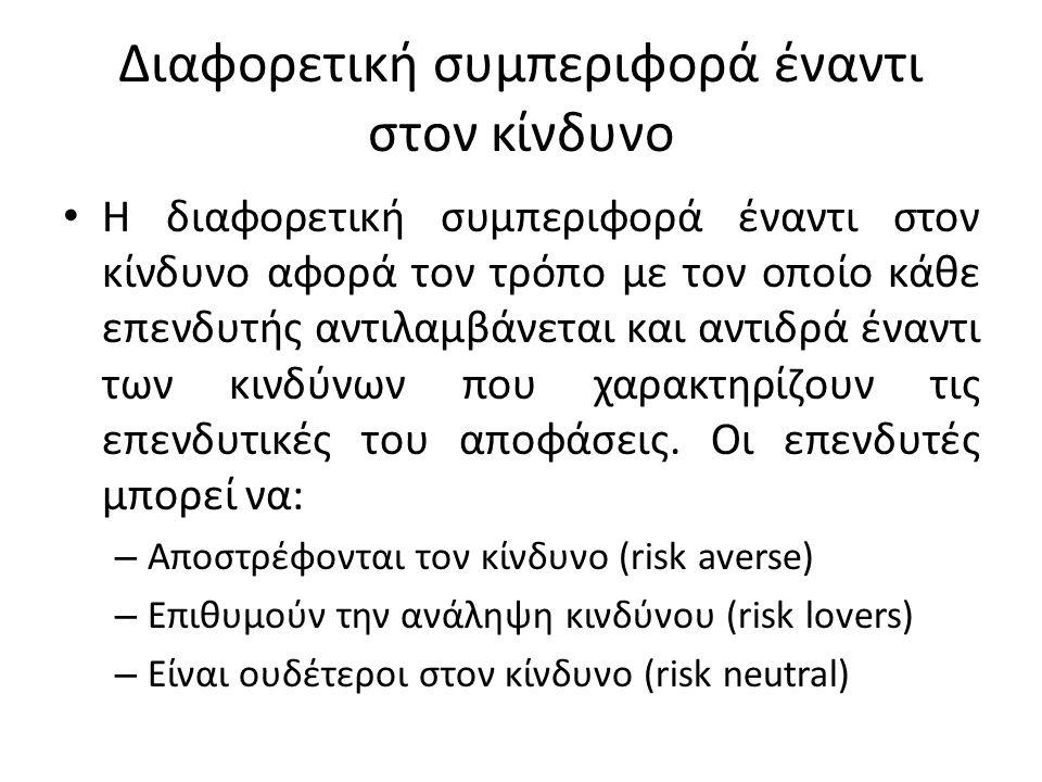 Διαφορετική συμπεριφορά έναντι στον κίνδυνο Η διαφορετική συμπεριφορά έναντι στον κίνδυνο αφορά τον τρόπο με τον οποίο κάθε επενδυτής αντιλαμβάνεται και αντιδρά έναντι των κινδύνων που χαρακτηρίζουν τις επενδυτικές του αποφάσεις.