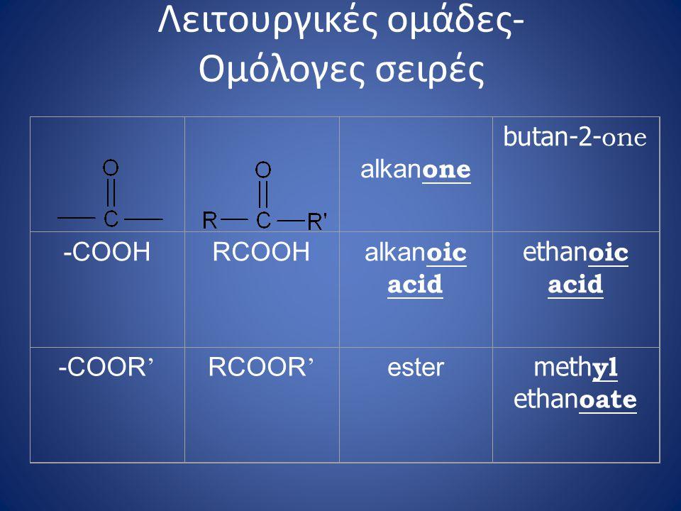 alkan one butan-2- one -COOHRCOOH alkan oic acid ethan oic acid -COOR ' RCOOR ' ester meth yl ethan oate Λειτουργικές ομάδες- Ομόλογες σειρές