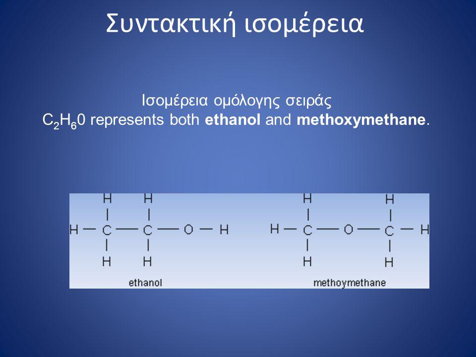 Συντακτική ισομέρεια Ισομέρεια ομόλογης σειράς C 2 H 6 0 represents both ethanol and methoxymethane.